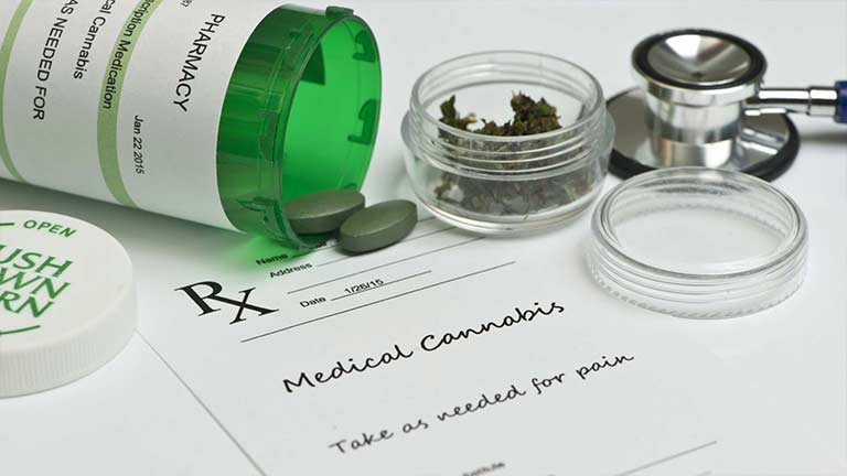 Green pill bottle and script for medical marijuana